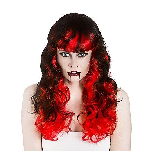 Ladies Black/Red Vampiress Wig (Curly) Halloween Fancy Dress Accessory