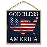 Honey Dew Gifts Man Cave Bar Patriotic Signs, God Bless America American Flag Map 10 inch by 10 inch Hanging Wall Art, Decorative Wood Sign, American Flag Wall Decor
