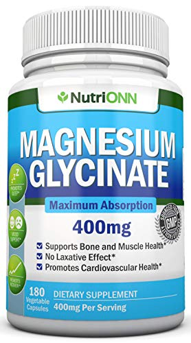 Magnesium Glycinate - 400 mg - 180 Vegan Capsules - Maximum Absorption - Chelate Vegan Supplement - High Bioavailability Pills - Great For Sleep, Anxiety, Heart Health, Muscle Cramps and Bone Strength