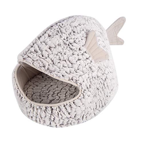 OhhGo Goldfischförmige Tierhaushöhle Waschbar Warmer Gemütlicher Katzenschlafsack mit Abnehmbarem Kissen
