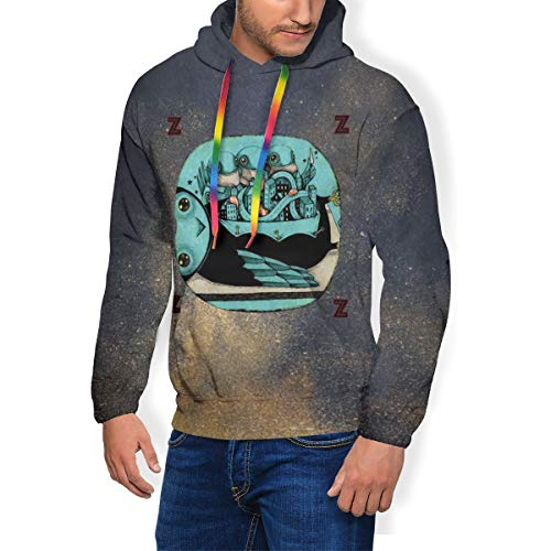 Latoshachase Sweatshirt My Morning Jacket Z Mens Hoodie Thicken Plus Velvet Hooded Drawstring Man's Sweater Tops with Pocket L Black
