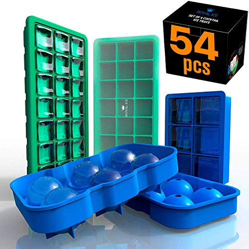 Silicone Ice Trays 4 PCS – Premium Set of Classic & Big Ice Cube Trays & Balls