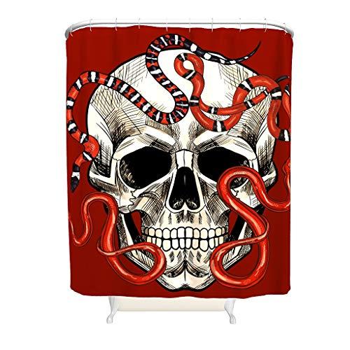 Gamoii Rote Schlange Schädel Duschvorhang Bad Gardinen 3D Digital Badezimmer Gardinen Bad Dekor Shower Curtains mit Duschvorhangringen White 91x180cm
