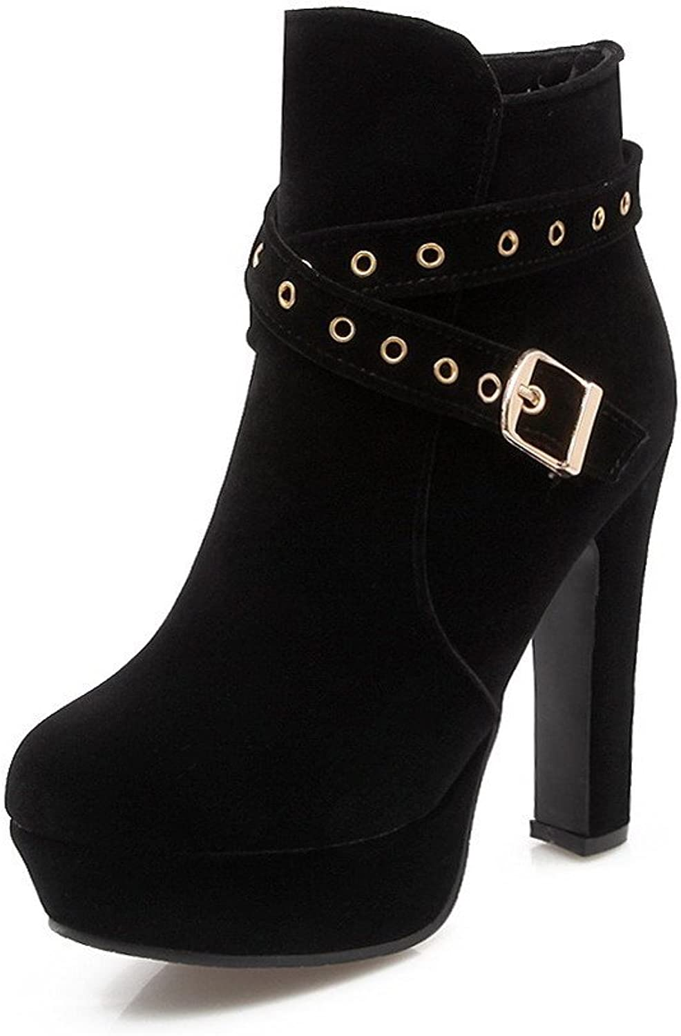 WeenFashion Women's Low-top Solid Chains Round Closed Toe High-Heels Boots