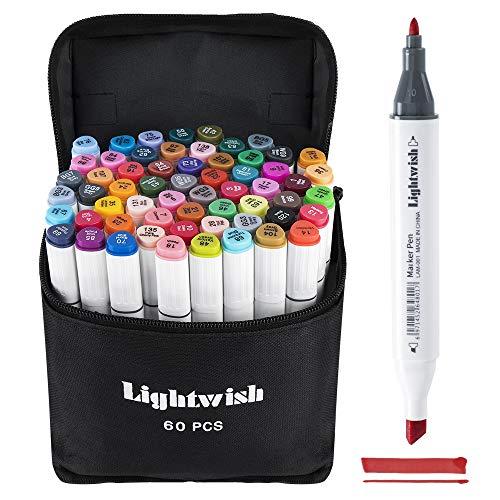 LIGHTWISH Pennarelli per alcolici a 60 Colori Pennarelli per Disegni artistici, Pennarelli a Base per alcolici per Manga, Cartoon, Illustrazioni, Design