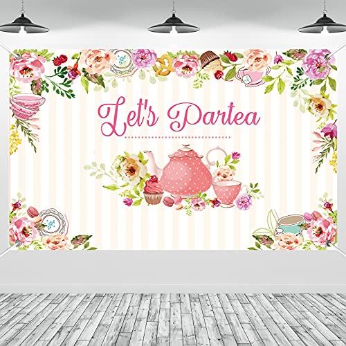 Tea Birthday Backdrop Party Decoration Tea Partea Floral Rabbit Yard Sign Background Party Cake Table Banner