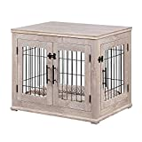beeNbarks Pet Crate End Table, Double Doors Wooden Wire Dog Kennel with Pet Bed,...