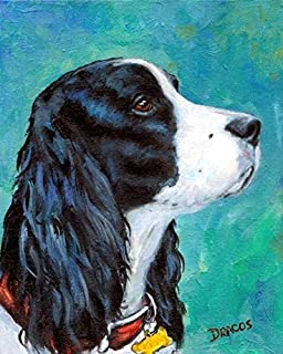English Springer Spaniel Dog Art Print, Black and White English Springer Spaniel Profile Portrait, Print of Original Dog Painting by Dottie Dracos, .