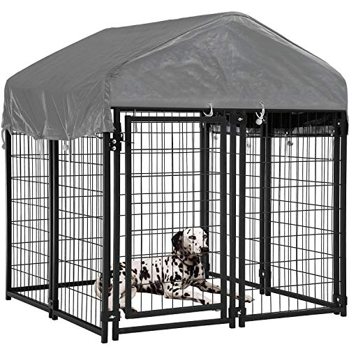 BMS Dog Pen Dog Fence Dog House Playpen Outdoor Camping Large Heavy Duty Dog Crate Kennel Cage with Reversibel Cover,4 x 4 x 4.3/7.5 x 3.75 x 5.8Feet (4 x 4 x 4.3) Crates Houses Pens