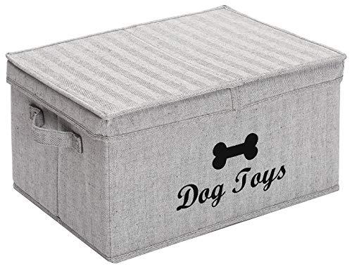 Großer Hundekorb aus Segeltuch mit Deckel, 41,9 x 30,5 cm, Aufbewahrung für Hundezubehör – perfekter Aufbewahrungsbehälter für Welpen, Spielzeug und Zubehör