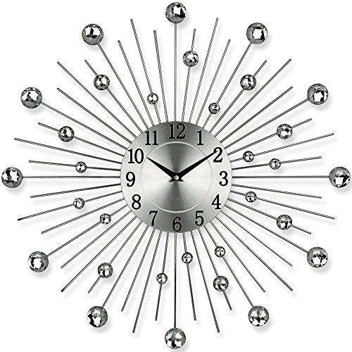 TW24 Küchenuhr - Bürouhr - Uhr - Moderne Designer Quartz Wanduhr Gerade - Silber
