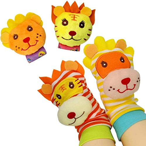 Fantastic Deal! Baby Socks Wrist Rattles and Foot Finder Socks Set, Shower Gift for Baby Girls & Boy...