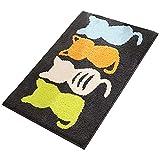 Fitrace Bathroom Rug, Ultra Soft Cute Cartoon Cat Bath Mat, Non Slip Water Absorbent Bathroom Mat, Machine Washable Bath Rug for Tub, Shower and Bath Room (16' x 24', Black)