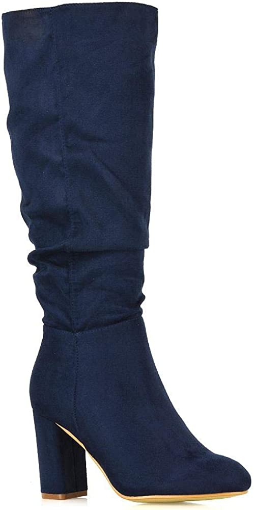 ESSEX GLAM Womens Knee High Boots Ladies Block Heel Slouch Calf Booties
