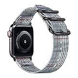 Fintie Armband für Apple Watch 44mm 42mm Series 5 4 3 2 1 - Premium Nylon atmungsaktive Sport Uhrenarmband verstellbares Ersatzband mit Edelstahlschnallen, Farbe-B