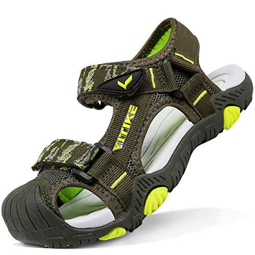 Sandalias para niño Sandalias Deportivas Zapatillas de Trekking y Senderismo Unisex Niños(D Verde,29 EU)