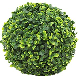 ECOOPTS 15 Inch Artificial Topiary Ball Lifelike Plants Boxwood Decor Cone for Wedding, Home, Front Patio,Planter,Deck,Garden,Backyard Décor Multiple Sizes, 3 Packs