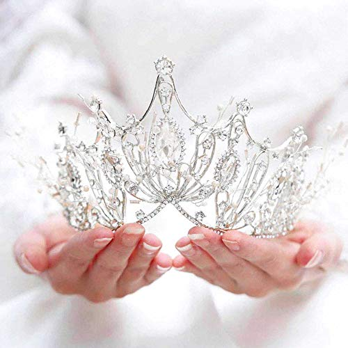 Catery Silver Baroque Crowns and Tiaras Crystal Pearl Bride Wedding Queen Crowns for Women Decorative Princess Tiaras Hair Accessories for Women and Girls (Silver)