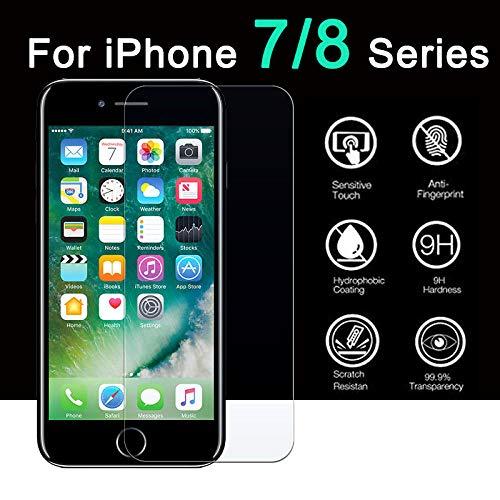 Haodong Vidrio Protector Encendido para Apple iPhone 7 8 Plus Protector de Pantalla Templado 7plus 8plus 7p 8p 8+ i Phone aifone iphone8 iphone7 iph (3 Piezas)-para el iPhone 8