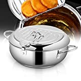 Tempura Deep Fryer Pot, Japanese Style 304 Food Grade Stainless Steel Frying Pan,with Temperature Control and Oil Filter Rack Lid for Kitchen French Fries, Fish and Shrimp(8.0inch)