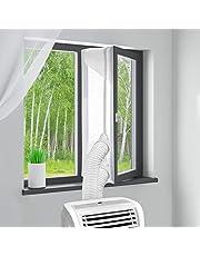 MYCARBON Fönstertätning för mobila luftkonditioneringsapparater 300 cm utan borrning luftkonditioneringssystem fönstertätning för torktumlare frånluftstorkare AirLock för fastsättning på roterande fönster tippfönster