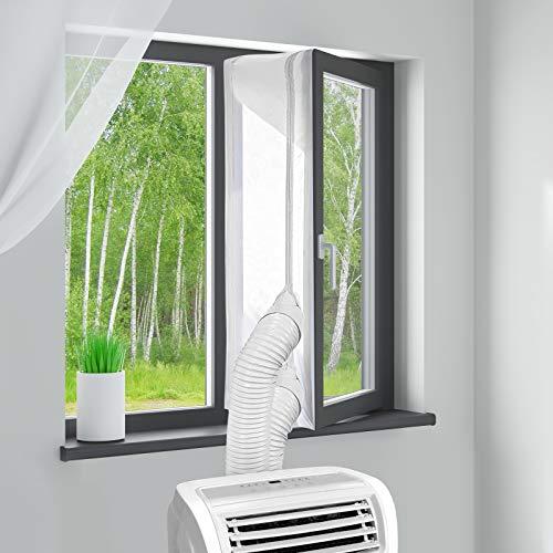 MYCARBON Guarnizione Universale per Finestre per Climatizzatore Condizionatore Portatile Adesivo con Cerniera con 4 Cursori Anti-scivolo Lavabile(500cm)