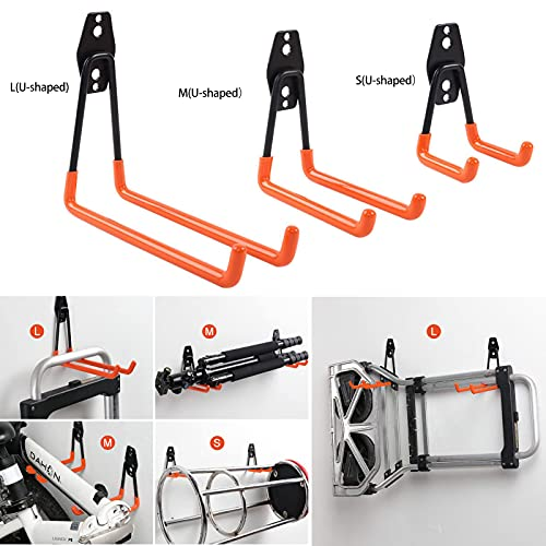 LIIBOT 2 Pack Garage Hooks with Heavy Duty Steel Storage Tool Hangers for Garage Wall Mount Utility Double Hooks with Anti-Slip Coating for Bike Garden Tools Ladders Bulky Items (L, U-Shaped, Orange)