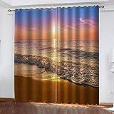 WDQFGE Cortina Habitacion Opaca Puesta de Sol Playa de Arena el mar 220x215 cm Decoración Motivo con Ojales 2 Piezas Half Price Drapes