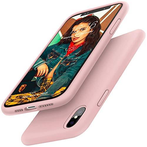 Gorain Hülle für iPhone XS MAX, Flüssig Silikon Kratzfeste Schutzhülle rutschfeste Handyhülle Schale Stoßfestes Bumper Case Handyschale für iPhone XS MAX 6.5 Zoll - Rosa Sand