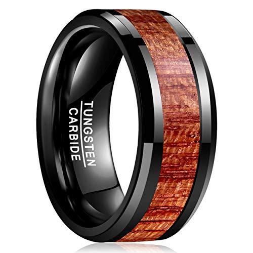 Vakki 10mm Unisex Wolframkarbid Ring Hawaiian Holz Inlay Geeignet für Hochzeit,Lifestyle,Jubiläums Geschenke,Größe 59(18.8)