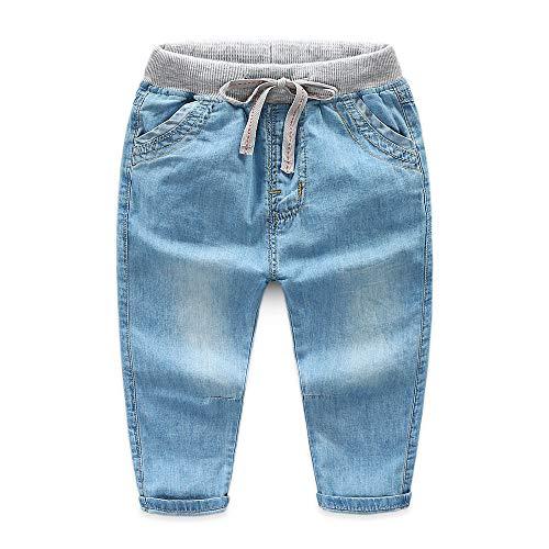 Wanlianer Baby- und Jungenjeans Die Kinder-Babyjeans-Hose mit elastischer Taille (Farbe : Hellbraun, Größe : 120cm)