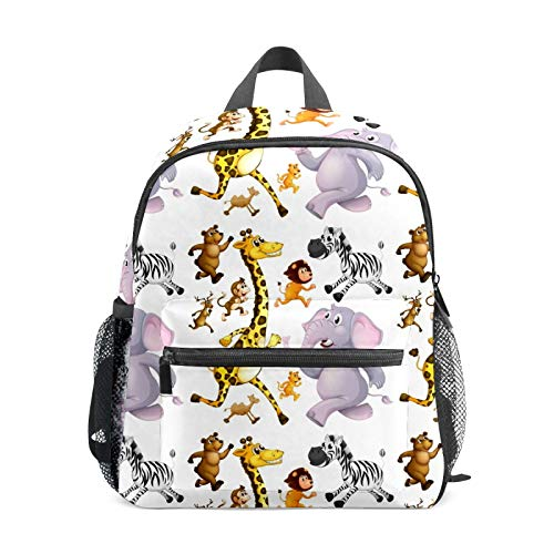 School Backpack for Kid Girls Boys,Student Bookbag Casual Daypack Travel Children Bag Organizer for Camping Hiking Gift Many Animals Running Background