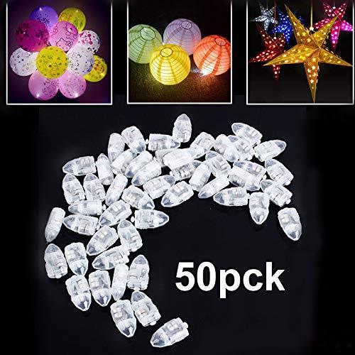Nakeey 50x LED-Ballons Lichter, Mini LED Licht Weiß Beleuchtung für Papierlaternen Ballons Hochzeit Party Blumen Dekoration Balloons Lights LED-Ballons Lichter