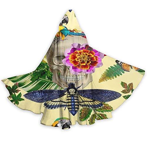 Capa de Capa para Adultos, Capa de Flor de Mariposa Tropical, Loro, Calavera, Unisex, de Longitud Completa, Capa con Capucha, Capa Larga, Disfraz de Cosplay