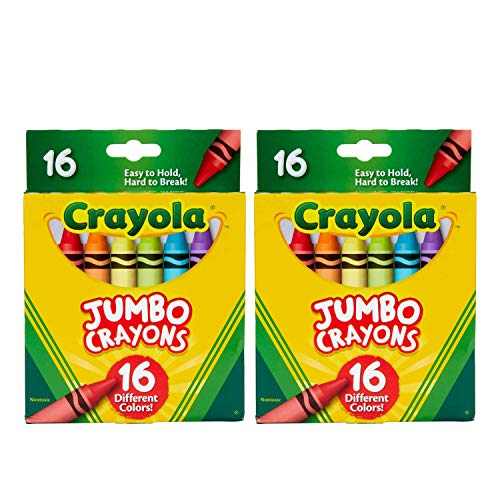 Jumbo Crayons, Assorted Colors, Great Toddler Crayons, 16Count (Pack of 2)