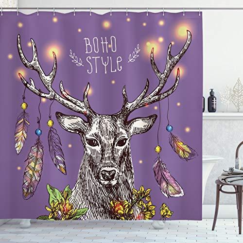 ABAKUHAUS Boho Duschvorhang, Wilde Rein Deer Hand Gezeichnet, Leicht zu pflegener Stoff mit 12 Haken Wasserdicht Farbfest Bakterie Resistent, 175 x 200 cm, Lila