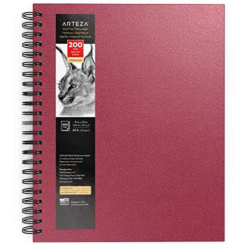 Arteza Sketch Book, 9x12-inch, Pink Drawing Pads, 100 Sheets Total, 68 lb 100 GSM, Hardcover Sketchbook, Spiral-Bound, Use with Pencils, Charcoal, Pens, Crayons & Other Dry Media