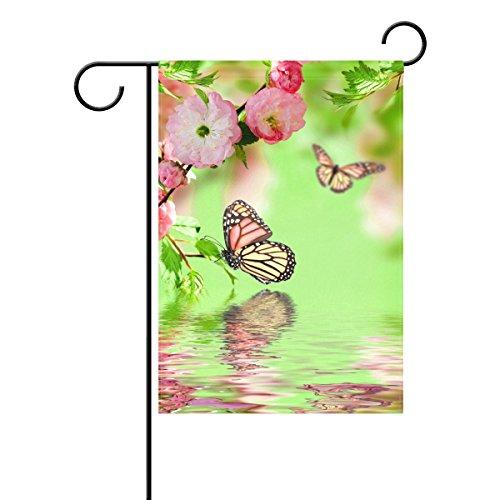 Bennigiry Eau Printemps Bloom Papillons Vert décoratif Welcome coloré mulitcolor lumineux mignon Jardin Drapeau, Polyester filé, multicolore, 12x18(in)
