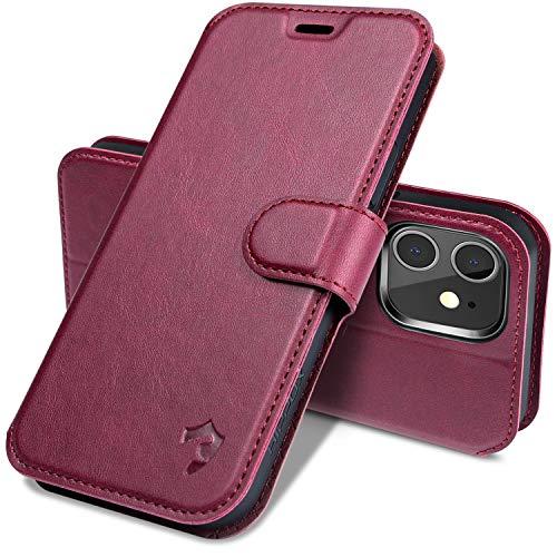 HIPPOX iPhone 12 mini ケース 薄型 手帳型 カード入れ スタンド機能 PUレザー マグネット式 サイドベルト 5.4in スマホケース ワインレッド