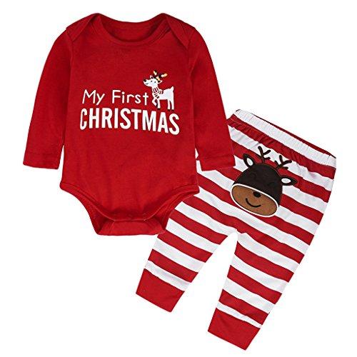 HomeDecTime Bebé Lindo Bebé Mi Primer Traje de Navidad Traje Recién Nacido 1-3 años - rojo, 70