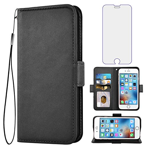 Asuwish Compatible with iPhone 6 6s Wallet Case Tempered Glass Screen Protector Flip Cover Card Holder Cell Phone Cases for iPhone6 Six i6 S iPhone6s iPhine6s iPhones6s i Phone6s Phone6 6a S6 Black