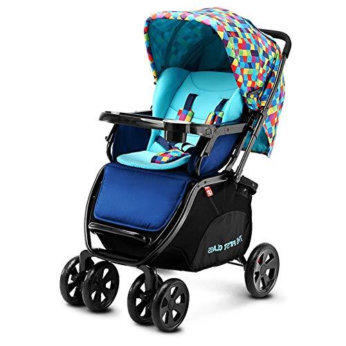 GXYSZ Leicht Kinderwagen Buggy mit Liegeposition klein klappbar mit Mit Ablagekorb mit Moskitonetz,Blau