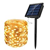 JosMega Upgraded Solar Powered String Fairy Lights 1 Pack 72 ft 200 LED 8 Modes Waterproof IP65 Twinkle Lighting Indoor Outdoor Fairy Firefly Lights Auto ON/Off (1 Pack 72 ft 200 LED, Warm White)