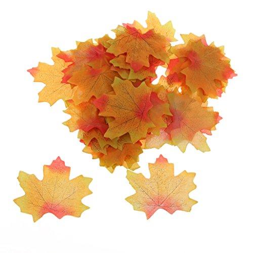 Lot de 100 feuilles d'érable artificielles pour décoration d'intérieur/jardin/mariage Como Se Describe Vert/orange