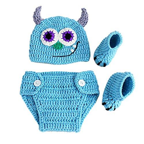 Amorar - Conjunto de ropa para bebé, accesorios para fotografía de recién nacido, ropa de crochet, gorro de punto de lana, pantalones con calcetines, disfraz para niño y niña, embalaje único
