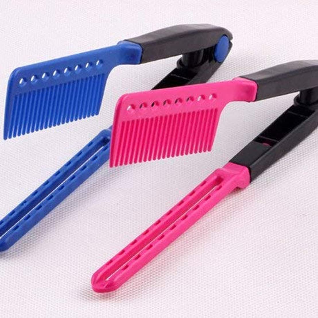 アクセサリー砲撃震えHair Straightening Comb, Haircut Anti-static V Shape Comb Clip Clamp Hairdressing Styling Tools(Rose_Red) [並行輸入品]