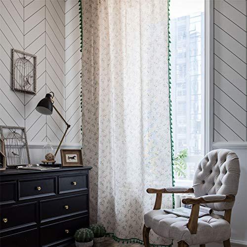 FACWAWF Curtain Green Tassel Curtain Small Flower Print Small Window Kitchen Curtain Semi Blackout Bay Window 150x220cm(1pcs)