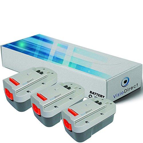 Lot de 3 batteries pour Black et Decker Firestorm FS18HV aspirateur à main 3000mAh 18V - Visiodirect -