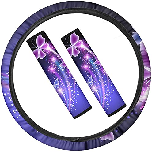 NETILGEN Butterflies Purple Car Steering Wheel Cover,Seat Belt Protector Pads, with Blue Butterfly Print Full Set 3 Pieces Auto Accessories,Anti-skid Durable Automotive Interior Decor for Lady
