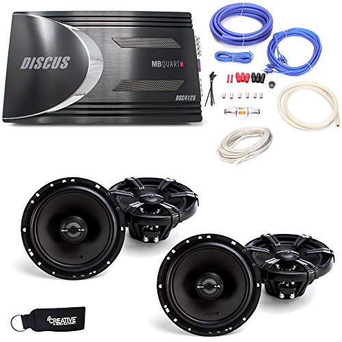 """MB Quart Discus DSC4125 4-Channel Amp, Two Pairs of MB Quart Z-Series ZK1-116 6.5"""" 2-Way Coaxial Speakers & Wiring Kit"""